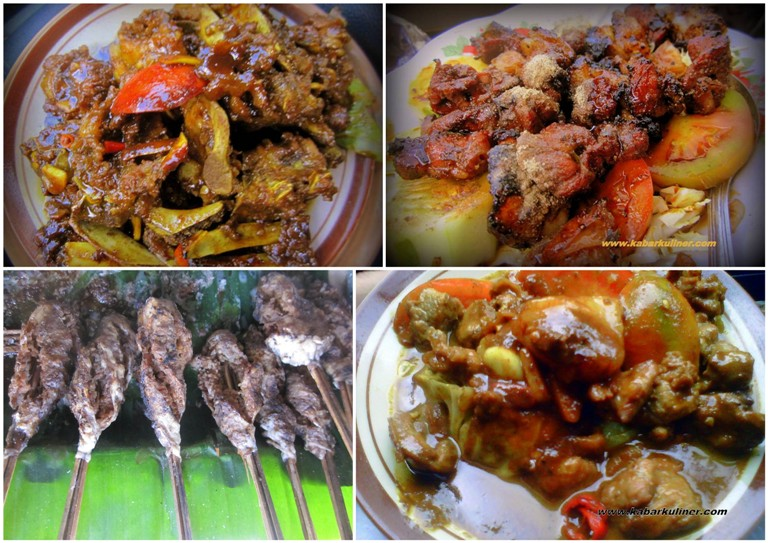 Aneka menu di warung  Pak Manto: Tengkleng Rica, Sate Buntel, Sate Kambing, Tongseng Kambing